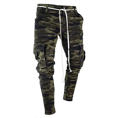 cebecf2d iHAZA Camo Cargo Pants Mens Skinny Stretch Denim Trouser Freyed Slim Fit  Jeans