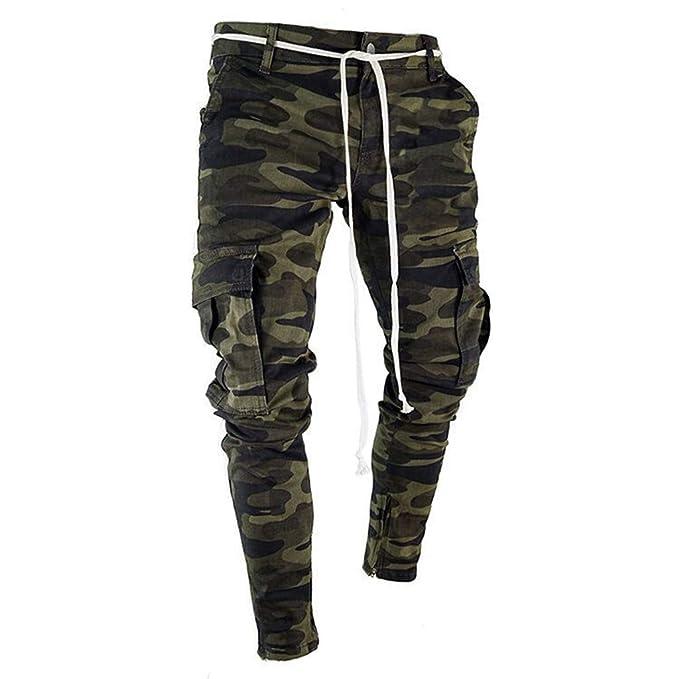 JiaMeng Deporte Jogging Pantalones Camuflaje Deportivo Correas de sujeción Pantalones de chándal Sueltos onales Pantalón con cordón Ajustable