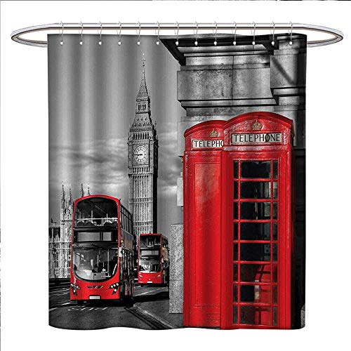 Anniutwo London Shower Curtain Collection by London Telephone Booth in The Street Traditional Local Cultural Icon England UK Retro Custom Made Shower Curtain W72 x L72 Red Grey