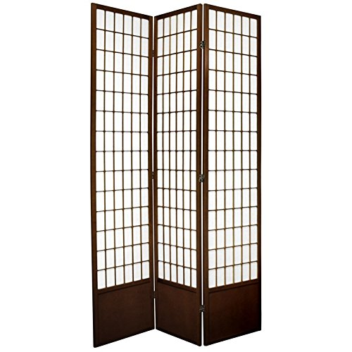 Oriental Furniture 7 ft. Tall Window Pane Shoji Screen - Walnut - 3 Panels