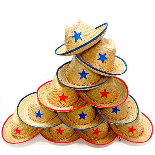 Christmas Hats For Children To Make (Dozen Straw Cowboy Hats for Kids - Makes Great Birthday Party Hats for Boys and Girls)