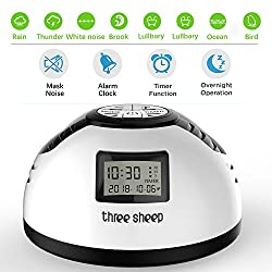 three sheep White Noise Machine, Nature Sound Sleep Therapy Machine, with 8 Soothing Sound, Timer and Alarm Clock, Plug in or Battery for Using Indoor Relaxation or Outdoor Travel