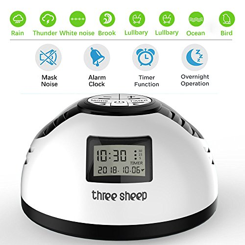 White Noise Machine,THREE SHEEP S2 Baby Nature Sound Machine aa Battery Powered Alarm Clock,Plug in Sound Machine,Portable Travel Sleeping Machine for Sleep Therapy