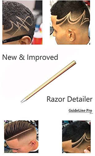 Detailed Edging (NEW Razor Detailer | Barber Hair Cutting Tool Accessories (Upgraded Pen Point Tip for Detailed Hair Tattoos & Designs) by GuideLine Pro)