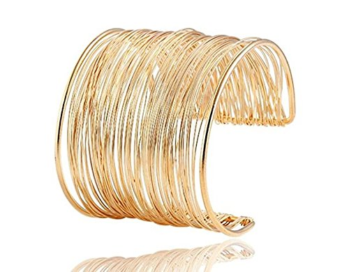 Wire Metal Coil Thin Cuff Bracelet (Gold color)