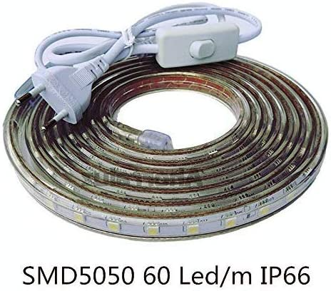 ONSSI Tiras LED Smd5050 220v 60 Ledm para Interiores y Exteriores Decorar IP66 Impermeable con Enchufe de Interruptor LED 3000k (Cálido, 3M)