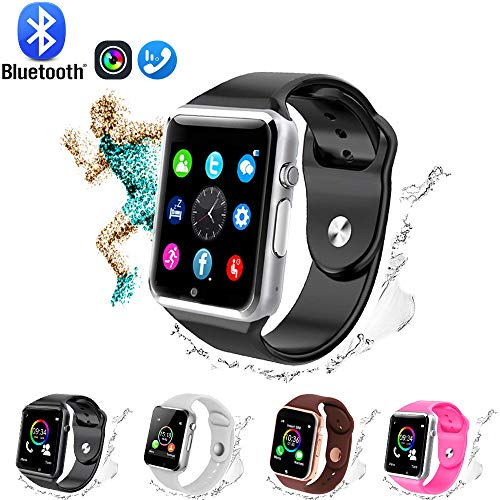GL Smart Watch,Bluetooth Smart Watch Touch Screen Sport Smart Wrist Watch, Fitness Tracker Camera Pedometer SIM TF Card Slot Compatible Samsung Android iPhone iOS Kids Women Me (Black and Silver) (Best Stylish Smart Watches)