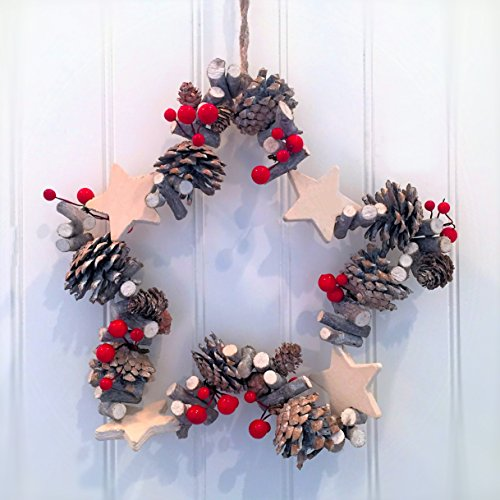Country Tree Pinecones Mixed (Whole House Worlds The Stockbridge Rustic Farmhouse Star Wreath, Handcrafted, Mixed and Natural Materials, Hazel Rod, Pine Cones, Plywood, Faux Red Berries, Wire and Twine Hanger, 11)