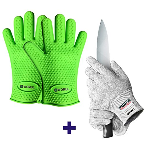 WOMUL Safety gloves set (Red color 1pair heat resistant bbq silicone gloves + Gray color 1pair cut resistant gloves) (GREEN + GRAY)