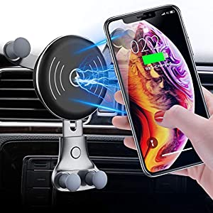 10W Wireless Car Charger, Wireless Fast Car Mount, Air Vent Phone Holder, 10W Compatible for Samsung Galaxy S10/S10+/S10e/S9/S9+/Note 9, 7.5W Compatible for iPhone Xs Max/Xs/XR/X/ 8/8 Plu