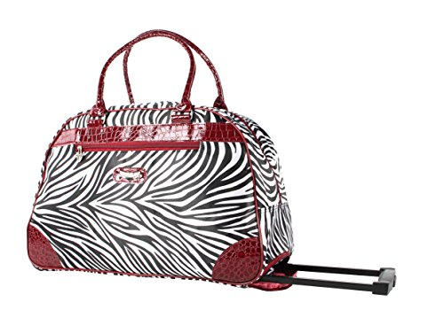 Red Trim Zebra - Kathy Van Zeeland Luggage 22 Inch Rolling Carry On Printed Wheeled Duffel (One Size, Red Trim Zebra)