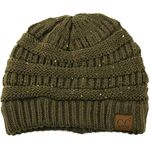Winter Trendy Soft Cable Knit Stretchy Warm Ribbed Beanie Skully Ski Hat Cap Sequins New Olive