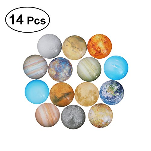 ULTNICE 14pcs Planet Mosaic Tiles Dome Cabochons Glass Gemstone for Crafts Jewelry Making