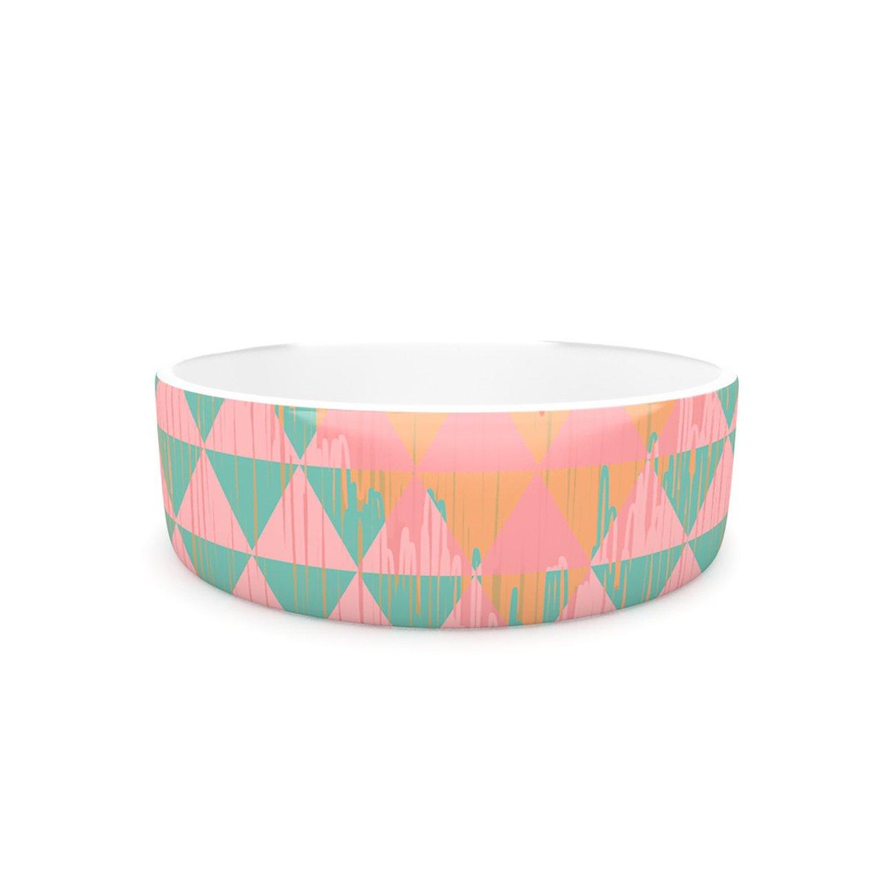 Kess InHouse Nika Martinez Ikat Geometrie II  Pet Bowl, 7-Inch, Green Pink