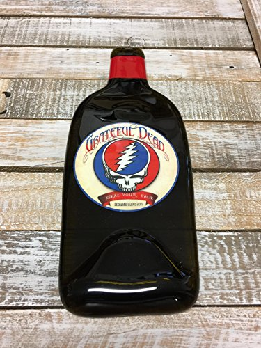 Grateful Dead Steal Your Face Melted Wine Bottle Cheese Serving Tray - Wine Gifts