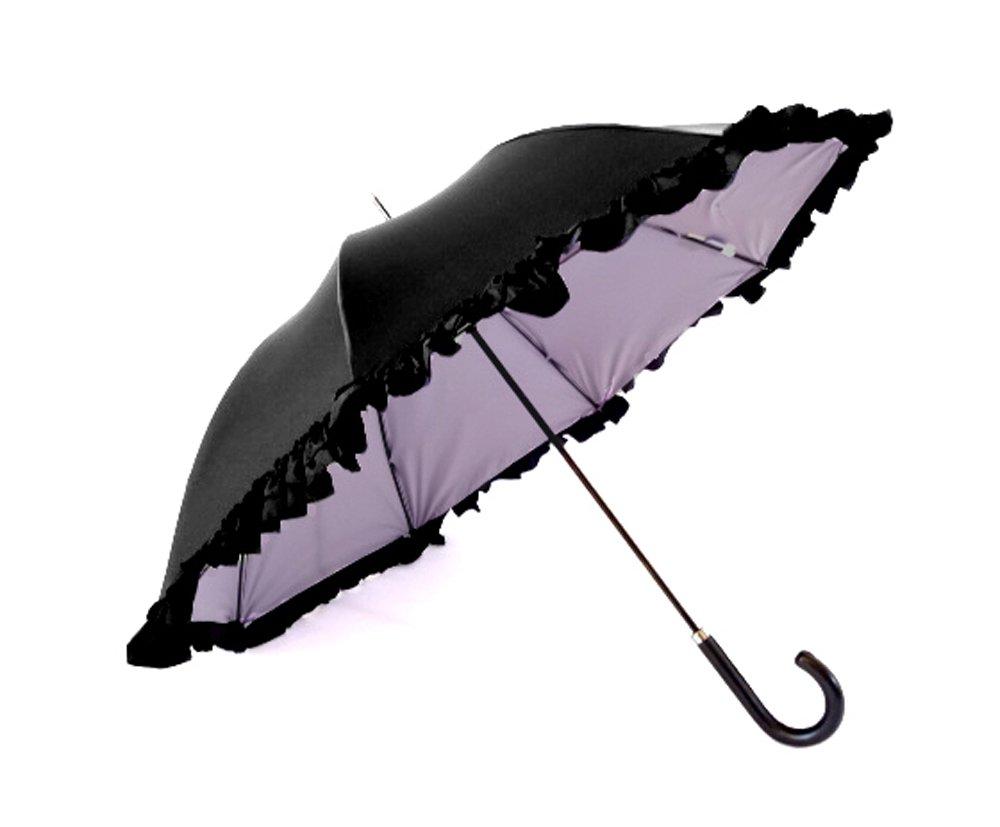 クラシコ 遮光100% 晴雨兼用 日傘 uvカット 100% 遮光 遮光 紫外線カット 紫外線対策 清涼効果 コーティング 二重生地 ダブルフリル 傘 かさ カサ レディース ショートタイプ B06Y5SV8Q6 04 ブラック×パープル 04 ブラック×パープル
