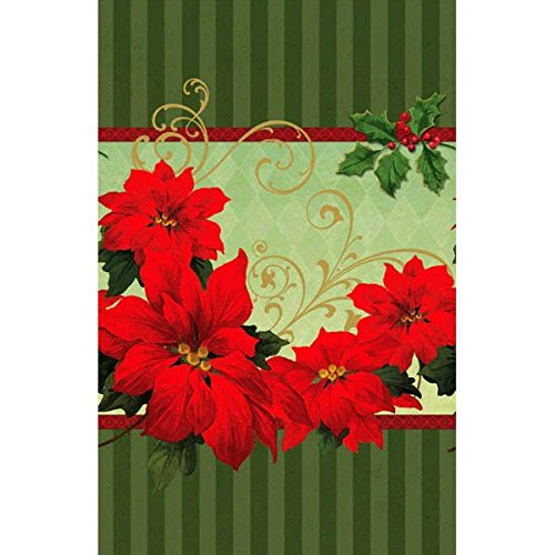 Amscan Vintage Poinsettia Plastic Christmas Table Cover (1 Piece), Red/Green, 54