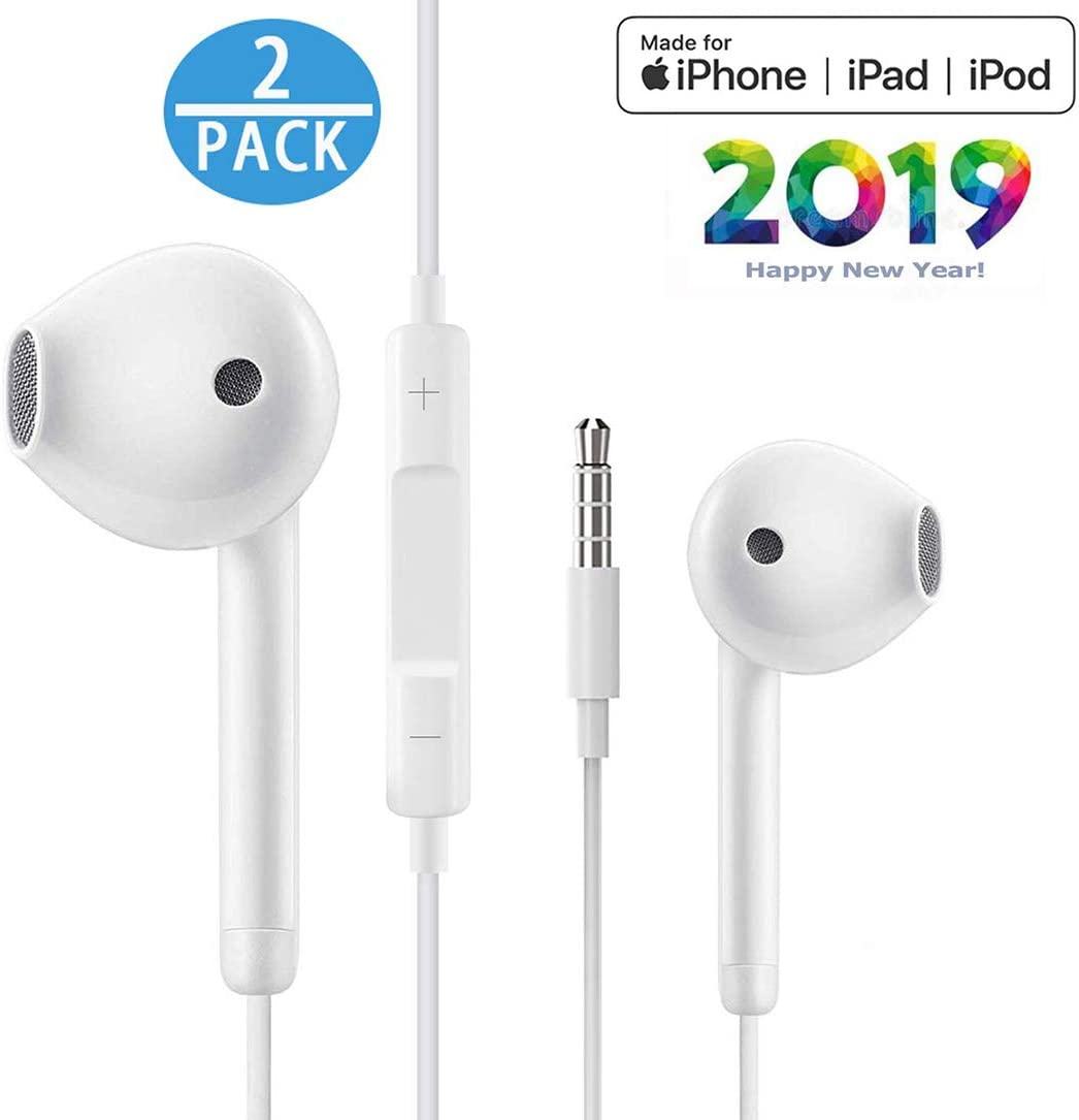 2Pack for iPhone Earphone with 3.5mm Headphone Plug,Earphones Headset with Mic Call Volume Control for iPhone 6 Earbuds Compatible with iPhone 6s 6plus 6 5s,Android,PC