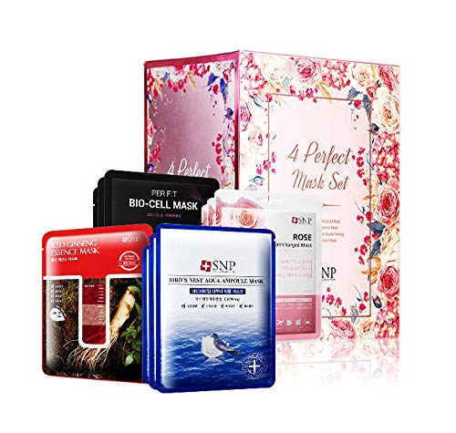 SNP - Korean Spa Sheet Mask Gift Set - 4 Different Masks for All Skin Types - Moisturizing, Firming, Soothing, & Nourishing - 30 Sheets - Best Gift Idea for Mom, Girlfriend, Wife, Her, Women