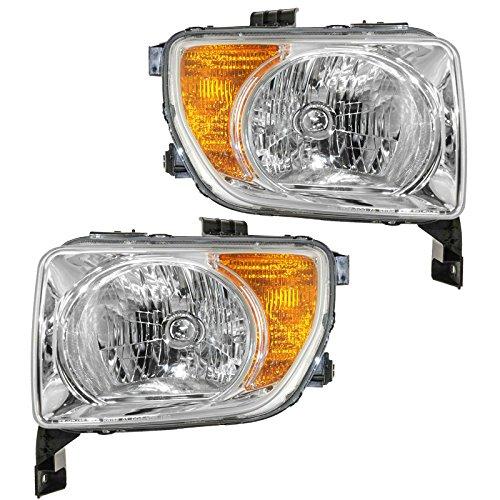 Headlights Headlamps Pair Set LH Left & Right RH for 03-06 Honda Element (Honda Element Headlight Headlamp)