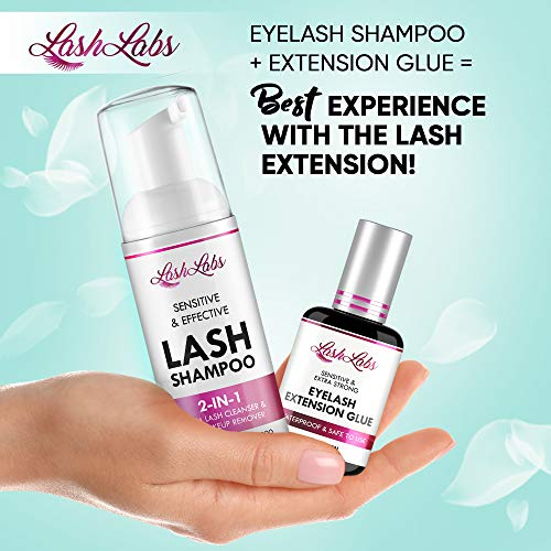 Lash Shampoo for Natural Beauties - Formulated in USA - Professional Lash Cleanser and Mascara Remover - Perfect Eyelash Shampoo for Extensions, Foaming Cleanser - Home & Salon Use - No Parabens