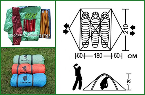 GEERTOP 3-4 Season Tent for Camping 2-3 Person Double Layer Lightweight Backpacking Freestanding Outdoor Hiking Waterproof Backpack Tents - Easy to Set Up 8 【Large Space】Tent size is 83(L) x 71(W) x 47.2(H), with extral vestibule to put the camping gears, luggage; it is a roomy camping travel dome tent with plenty of space for you and a family member or friends; Providing a comfortable and spacious outdoor shelter that comfortably fits 2 man or 3 person 【Waterproof Tent】Geertop 3 season tent - 210D PU5000 mm waterproof Oxford cloth ripstop floor + 210T PU3000 mm anti-tear plaid polyester tent fly while double-sided adhesive waterproof strip seam, ensure water does not make its way into the inside of tent , offer a comfortable camping experience 【Excellent Ventilation 】The camping inner tent made of 210T breathable polyester + high density fine nylon mesh with 2 doors + 2 ventilation windows + 2 vestibule, allowing for greater airflow throughout the tent, avoiding bothered by stuffiness