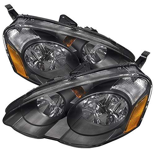 Carpartsinnovate For 02-04 Acura RSX DC5 JDM Replacement Black Clear Head Lights Driving Lamps Pair