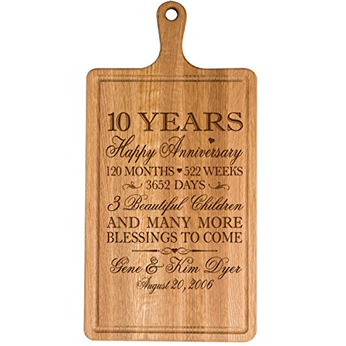 Personalized 10th Year Anniversary Gift for Him Her wife husband Couple Cheese Cutting Board Customized with Year Established dates to remember for Wedding Gift ideas by Dayspring Milestones