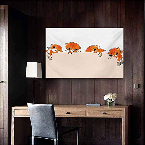 duommhome Cat Chinese Classical Oil Painting Banner with Little Kitties Felines Over Jumping The Walls Free Artful Design for Living Room Bedroom Hallway Office 32
