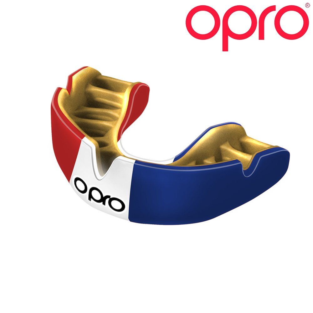 OPRO Power-Fit Countries Mouthguard | Adult Handmade Gum Shield for Football, Rugby, Hockey, Wrestling, and Other Combat and Contact Sports - 18 Month Dental Warranty (Ages 10+) (France)
