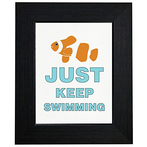 Just Keep Swimming - Clown Fish Silhouette Framed Print Poster Wall or Desk Mount Options