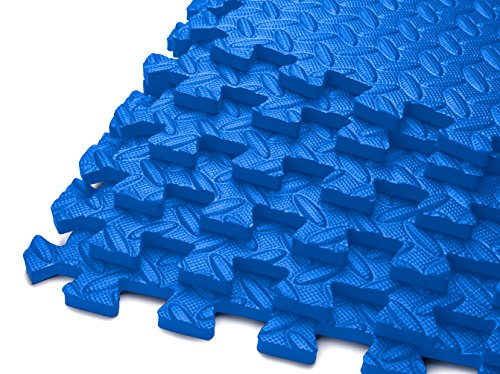 HemingWeigh Puzzle Exercise Mat EVA Foam Interlocking Tiles (Blue, 24 Square Feet)