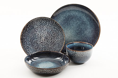 Gibson Elite 99839.16RM Matisse Double Bowl Dinnerware Set Reactive Stoneware (16 Piece), Cobalt Blue, 16pc,