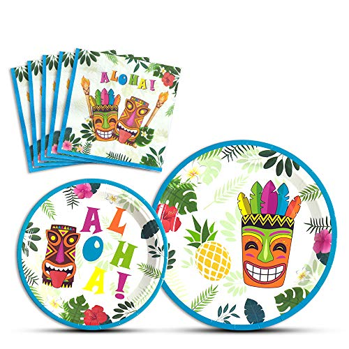 WERNNSAI Hawaiian Aloha Dinner Dessert Plates and Napkins - Luau Tropical Tiki Summer Pool Party Supplies Serves 16 Guests 48 PCS]()