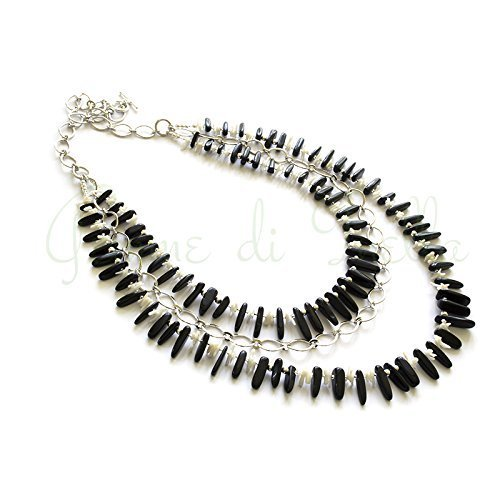 Necklace Rhodium Plated Agate (Necklace on a large rhodium plated chain with black agate sticks and white coral sticks)