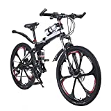 """OPATER 26"""" 24 Speed Dual-Suspension Mountain Bike, Ultra-Light & Portable MTB with Magnesium Alloy 6 Spokes Integrated Wheel"""