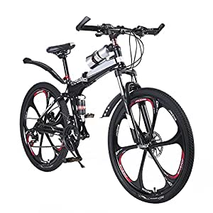 "OPATER 26"" 24 Speed Dual-Suspension Mountain Bike, Ultra-Light & Portable MTB with Magnesium Alloy 6 Spokes Integrated Wheel"