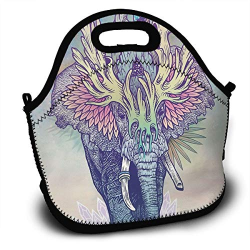 Psychedelic Elephant Tribal Colourful Spirit Mask Reusable Insulated Lunch Bag/Gold Standard for Childrens Fine Neoprene Waterproof Picnic Lunch Boxes Tote Bags Mom Bag (Black)