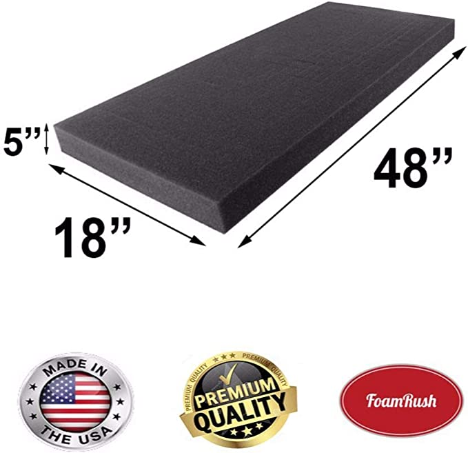 Seat Replacement FoamRush 6 H x 24 W x 48 L Premium Quality Upholstery Cushion High Density Sheet Padding Made in USA