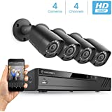 Amcrest Full-HD 1080P 4CH Video Security System w/ Four 2.0 MP (1920TVL) Outdoor IP67 Bullet Cameras, 66ft Night Vision, HDD Not Included, (AMDV10814-4B-B)
