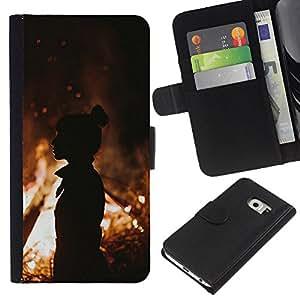 For Samsung Galaxy S6 EDGE Case , Fire Silhouette Orange Summer Mid Eve - la tarjeta de Crédito Slots PU Funda de cuero Monedero caso cubierta de piel