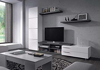 HABITMOBEL Mueble de Salon Color Gris Ceniza y Blanco,Mod Charles ...