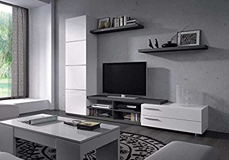 HABITMOBEL Mueble de Salon Color Gris Ceniza y Blanco,Mod ...