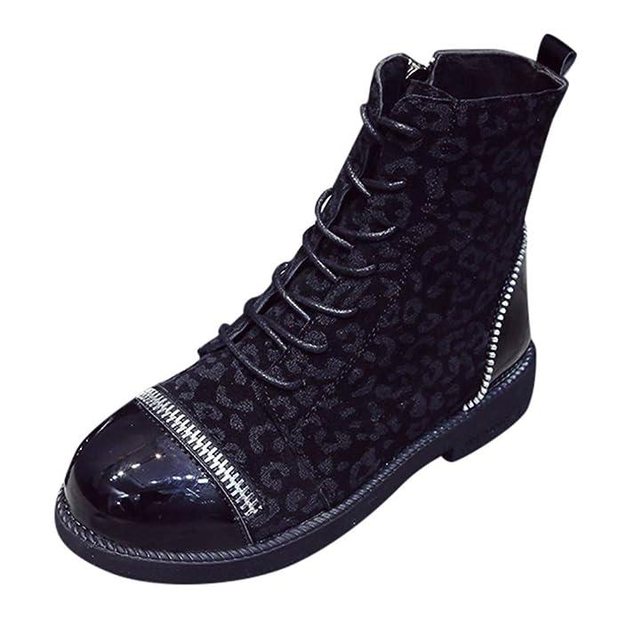 OHQ Botines Gruesas Mujer Invierno Punta Redonda De Estilo Leopardo Botas con Cremallera Europeo CóModo Y Elegante Zapatos: Amazon.es: Zapatos y ...