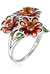 Sterling Silver Citrine Enamel Triple Flower Ring