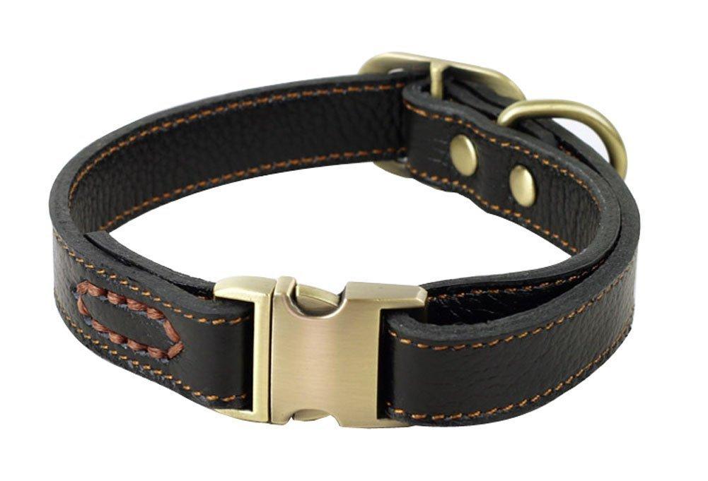 collier fait main pour chiens moyens // petits Rantow Collier r/églable en cuir pour chiens col de 30 cm /à 43 cm et 2 cm de large noir