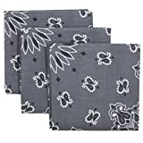 Grey Bandana 3-Pack - Made in USA For 70 Years - Sold by Vets – 100% Cotton –Sewn Edges (Charcoal 3 Pack)