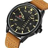 NAVIFORCE Original Genuine Leather Quartz Date Week Waterproof Sport Men's Wrist Watch 9074 Brown