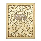 PotteLove Personalized Engraved Alternative Wedding Guest Book Rustic Wooden Mr Mrs Surname Style Drop Top Frame Box 40x50 cm with 150pcs Small Wood Hearts