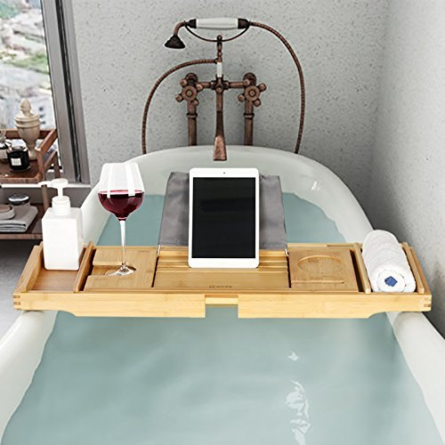 eclife Bamboo Bathtub Caddy Tray Natural Bamboo Frame Holder Free Soap Holder Integrated Tablet Luxury Spa with Folding Sides Natural Ecofriendly Wood, Smartphone Wine Holder Book Holder H01N by eclife (Image #6)